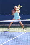 Five times Grand Slam champion Martina Hingis practices for US Open 2014 Royalty Free Stock Images
