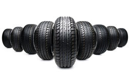 Five tires formation isolated on white Royalty Free Stock Images
