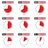 Five to Forty Five Minutes Stop Watch Illustration. Five to Forty Five Minutes Stop Watch - Clock Vector Illustration Set Stock Images