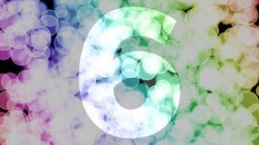 Five to six years birthday fade in/out animation with color gradient moving bokeh background. Animation: 90 frames still with number, 180 fade out, 30 clear vector illustration