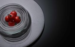 Five Tomatoes on Clear Glass Bowls Royalty Free Stock Images