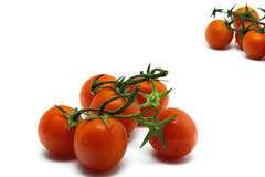 Five tomatoes Stock Images