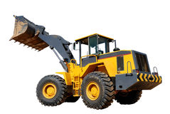 Five-ton wheel loader buldozer over white Stock Photos