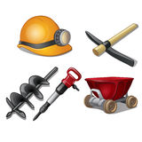 Five tools of miner on a white background Royalty Free Stock Photo