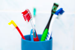 Five tooth brushes in ceramic glass Royalty Free Stock Photos