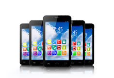 Five touchscreen smartphone with application icons. Five touchscreen smartphones with applications on screens vector illustration