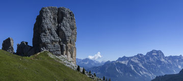 Five Towers, Dolomites. Panoramic view of the Five Towers, Dolomites - Italy Stock Photo