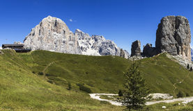 Five Towers and Tofana of Rozes. Panoramic view of the Five Towers and Tofana of Rozes, Dolomites - Italy stock photos