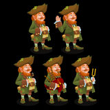 Five traditional leprechauns with different items Royalty Free Stock Photography