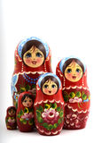 Five traditional Russian matryoshka dolls. On white background Royalty Free Stock Photos