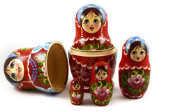 Five traditional Russian matryoshka dolls. On white background Stock Photography