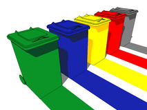 Five trash cans. For garbage separation Stock Images