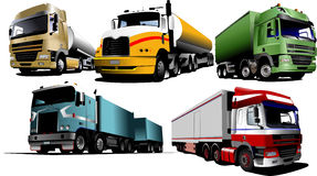 Five trucks on the road Stock Photos