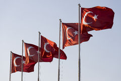 Five Turkish flags Stock Photo