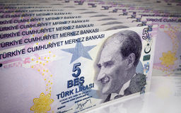 Five turkish lira Stock Photography