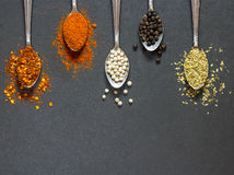 Five type of spices and herb on the spoon on black stone backgro Royalty Free Stock Image