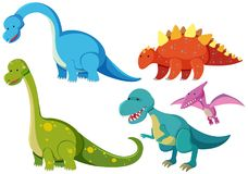 Five types of dinosaurs on white background Stock Photography