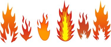 Five types of flames. Five types of vector flames Stock Photography
