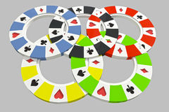 Five types of poker chips olympic circles Stock Image