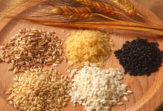 Five types of rice Royalty Free Stock Image