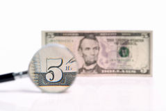 Five U.S. dollars magnified Royalty Free Stock Image
