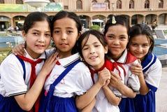 Five uighur girl students Royalty Free Stock Image