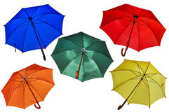 Five umbrellas on white. Stock Images