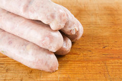 Five uncooked sausages Royalty Free Stock Photography