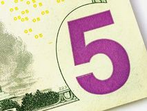 Five US or USA Dollar Bill Closeup. Five US or USA Dollar Bill Close up Royalty Free Stock Images