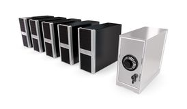 Five usual computers and computer shape of safe. Royalty Free Stock Image