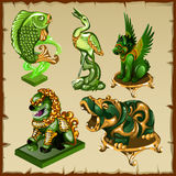 Five various animal figurines made of malachite royalty free illustration