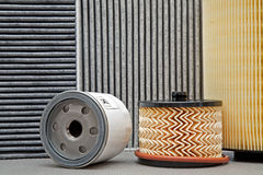 Five various car filters Stock Photography