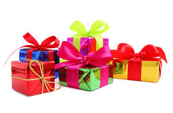 Five various glossy gift wrapped presents Royalty Free Stock Photography