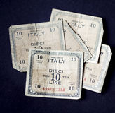 Five very old Italian ten lire banknotes of 1943 Stock Image