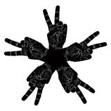 Five victory hands abstract symbol, black and white vector speci Royalty Free Stock Photos