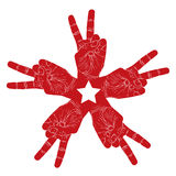 Five victory hands abstract symbol with pentagonal star, vector Royalty Free Stock Image