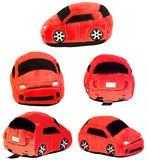Five views of the same stuffed toy car royalty free stock photo