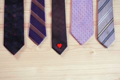 Five violet purple neck ties royalty free stock photo