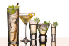 Five vodka cocktails royalty free stock photos