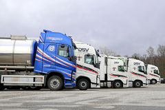 Five Volvo Trucks Line Up Stock Images