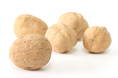 Five walnuts Stock Photo