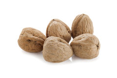 Five walnuts Stock Images