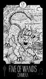 Five of wands. Chimera. Fantasy line art illustration. Engraved vector drawing. See all collection in my portfolio set Royalty Free Stock Photo