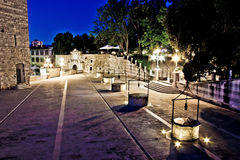 Five well square in Zadar, evening view royalty free stock photo
