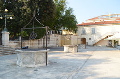 Five wells square in Zadar royalty free stock photography