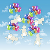 Five white babies flying on colorful balloons in the sky Royalty Free Stock Photos