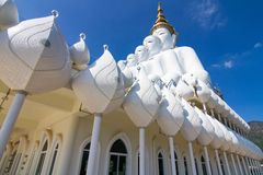 Five white buddha. Temple public thailand Stock Image