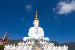 Five white buddha. Temple public thailand Royalty Free Stock Photo