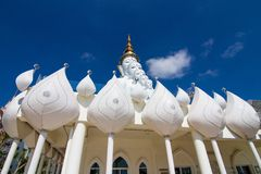 Five white buddha. Temple public thailand Stock Photos