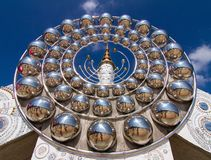 Five white buddha. Temple public thailand Stock Photo